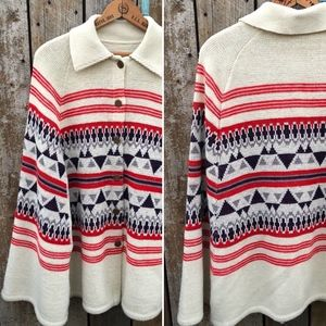 Vintage 70s Knitted Acrylic Poncho Cream Aztec